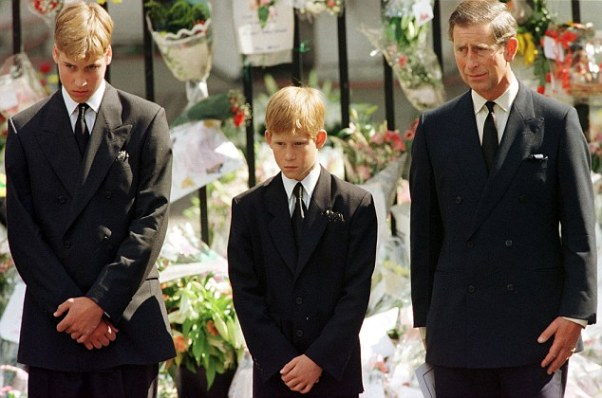 PRINCE CHARLES WITH PRINCE HARRY AT FUNERAL OF DIANA
