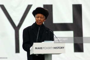 "Launch of the ""Make Poverty History"" campaign, Trafalgar Square, London, 3rd February 2005. Nelson Mandela speaking to the crowd"